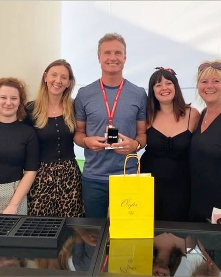 Alyssa Smith Jewellery at silverstone with David Coulthard
