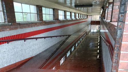 South Woodford Station underpass, submerged