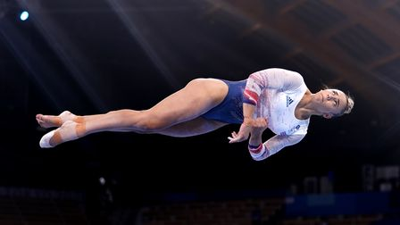 Great Britain's Amelie Morgan in action on the balance beam at the Tokyo 2020 Olympic Games