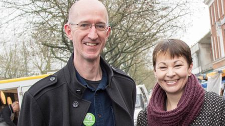 Cllr Grover pictured with Green Party MP Caroline Lucas.