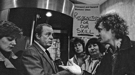 Mick Gosling with sewing machinists and trade leader Ron Todd in 1984