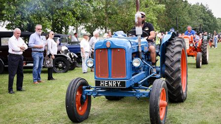 """Debden-RBL 100 show: A blue tractor with the number plate """"Henry"""""""