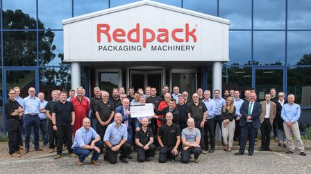 Staff from Redpack Packaging Machinery and Macmillan pictured after the Brave the Shave event where