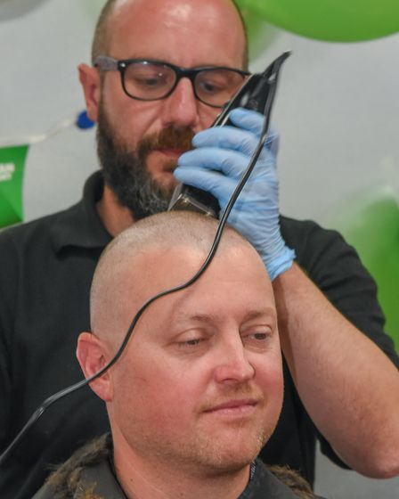 Matt Bullard, projects manager at Redpack Packaging Machinery, taking part in a Brave the Shave to r