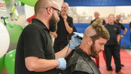 Dieter Leleu, design office manager at Redpack Packaging Machinery, taking part in a Brave the Shave