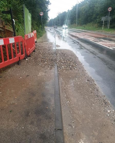 Debris after flooding on Thaxted Road