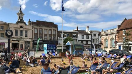 Hitchin's Market Place will be transformed into the seaside for three weeks, starting from Tuesday, August 3