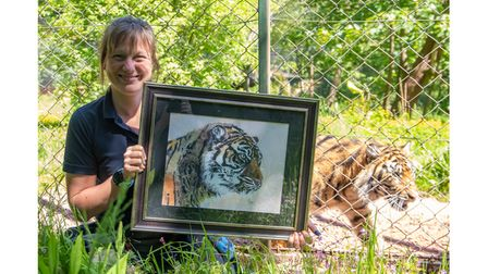 Zoo keeper holding picture of tiger