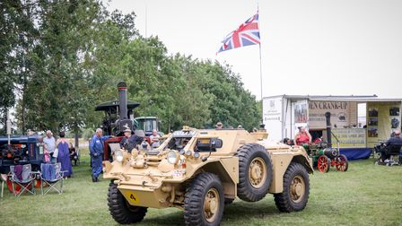 A sandy-coloured vehicle with a Union Flag on a long mast: the Debden Vintage and Classic Vehicle Show
