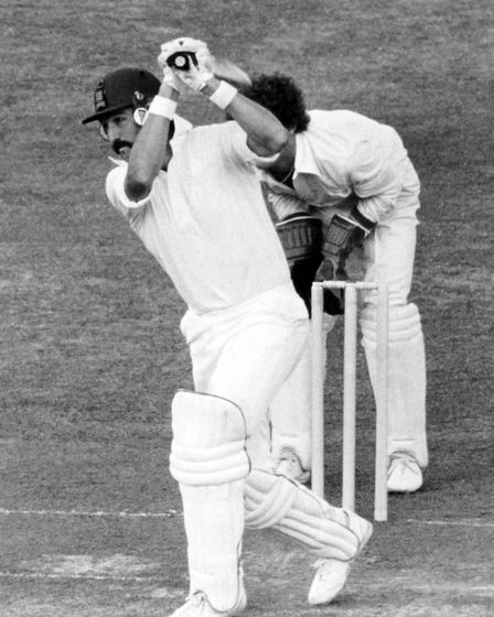 Graham Gooch hits out on his way to a century in the 1979 Benson & Hedges Cup final (pic PA)
