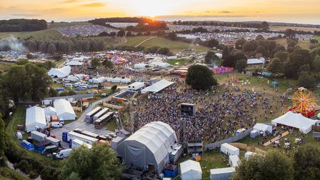 The Standon Calling Festival site from above.