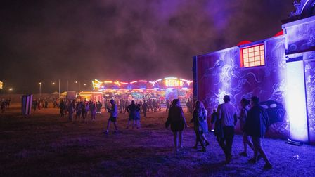 Standon Calling 2021 festival site at night.