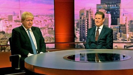 Boris Johnson and Keir Starmer meet on an old episode of the Andrew Marr programme. Photograph: BBC/