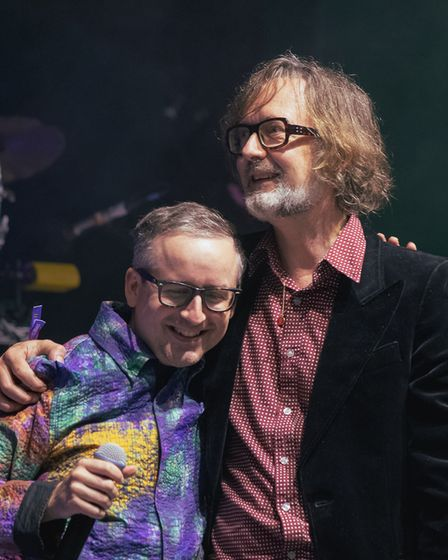 Jarvis Cocker joined Hot Chip on stage as a special guest at Standon Calling Festival 2021.