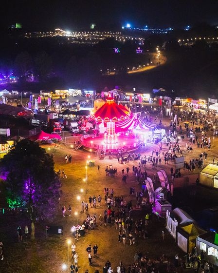 The Standon Calling Festival 2021 site at night.