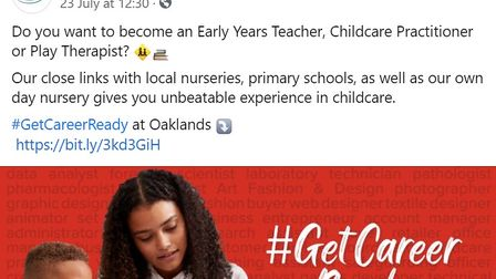 Oaklands College is promoting its links with Acorns Day Nursery on Facebook.