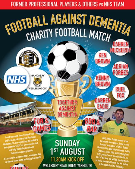 Poster for Football Against Dementia Charity Match