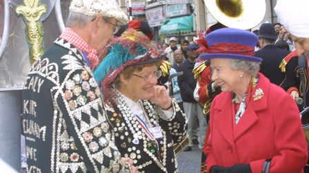 Newham's Pearly King and Queen George Davcison and Angela in Green Street durinf Silver Jubilee cele