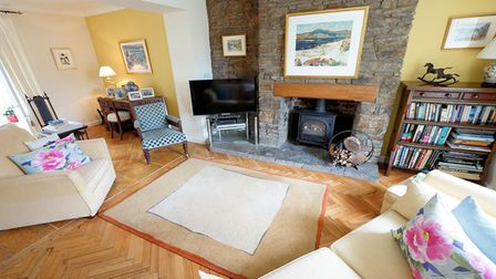 sitting room with parquet floor, beige rug, wood-burning stove with stone surround and hearth