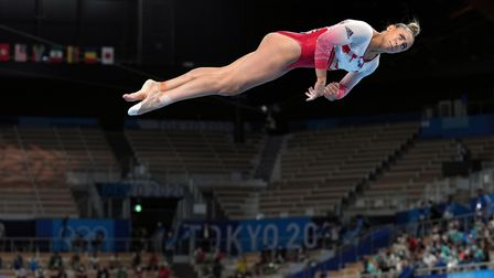 Great Britain's Amelie Morgan on the balance beam during the women's team final at the Tokyo 2020 Olympic Games
