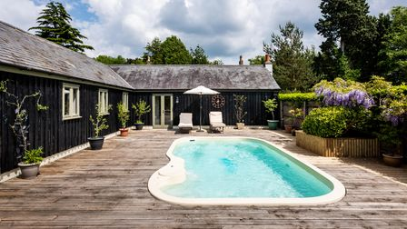 The pool and outside deck at Orchard Barn