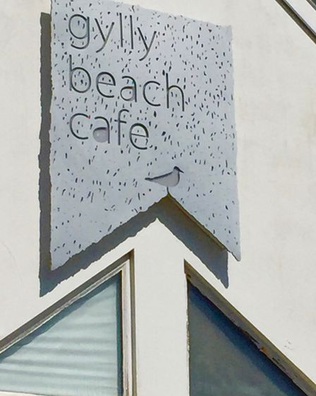 Gylly Beach Cafe sign in Falmouth