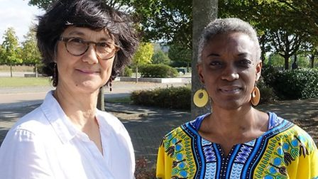 Cllr Dr Tumi Hawkins (right) with Cambridge City Council's executive member for planning and transport Cllr Katie Thornburrow