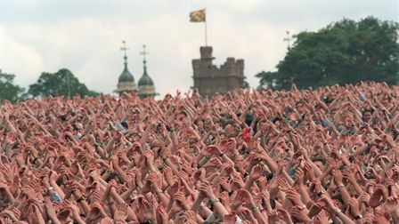 A Sea of hands at Knebworth Park during the Oasis Open Air Concert.