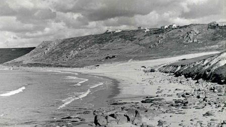 An old picture of the beach at Sennen, date unknown