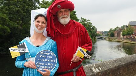 Emily Parker and Rob Knee dressed up as Margery and John Paston, on Norfolk Day