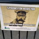 One of the Covid posters put up in Sprowston by the town council which have been met with a public backlash