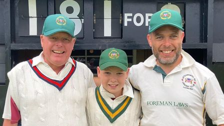 Letchworth Garden City Cricket Club 's Jeremy Gillhamwith grandson Henry and son Tom