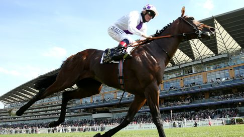 Poetic Flare ridden by jockey Kevin Manning wins the St James's Palace Stakes on day one of Royal Ascot