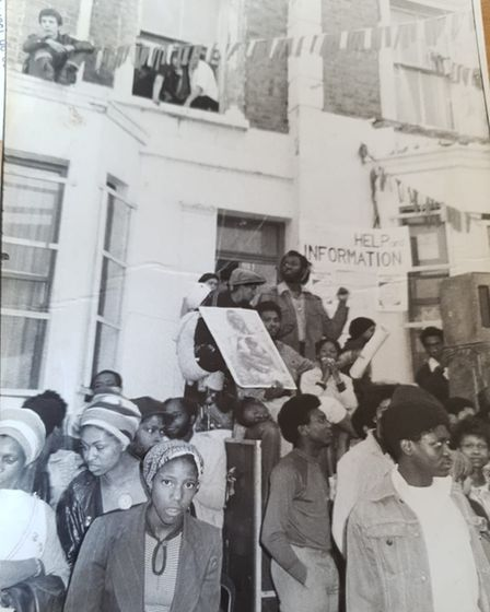 A protest that the pastor attended in the 1970s.