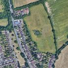 An aerial view of the Harpenden Road site, which could see 150 homes built on Green Belt land.