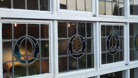 Stained glass in the Mitre on Earlham Road, Norwich.