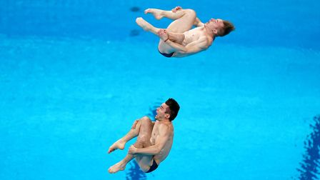 Great Britain's Daniel Goodfellow and Jack Laugher during the Men's Synchronised 3m Springboard Fina