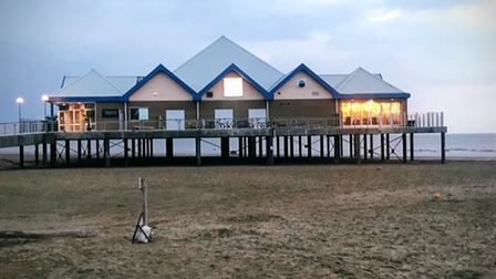 pier-style building on the beach in Weston-super-Mare housing the new Revo restaurant and glow-in-the-dark mini-golf complex