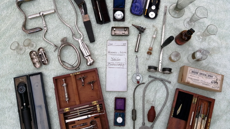 The medical accoutrements of the John Truscott and his sons.