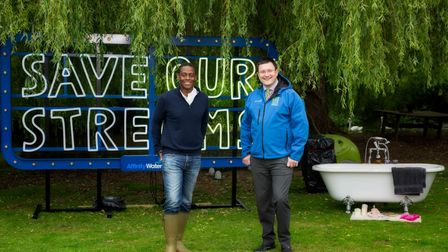 Hitchin and Harpenden MP Bim Afolami and Jake Rigg from Affinity Water gave aprogress update on SOS: Save Our Streams