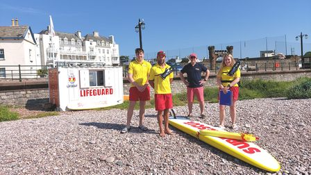 L-R Lifeguards Henry Williams, Guy Russell, Andrew Dean andEve Cockayne