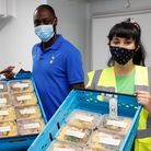 Felix's Kitchen Launch at their new premises with volunteers Ledley King, Melissa Hemsley and childr