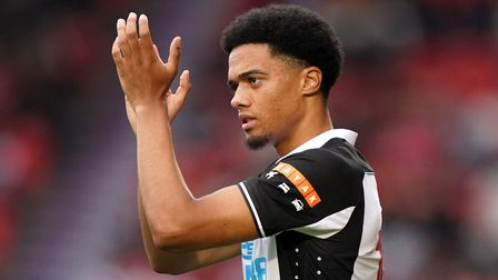 Newcastle United's Jamal Lewis applauds the fans before during the pre-season friendly match at the