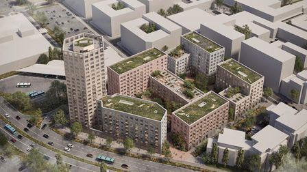Bird's eye view of proposed development with Lytton Way in the foreground and showing relationship