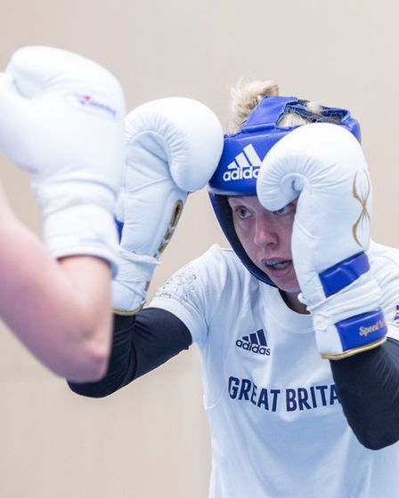 Charley Davison in sparring for Team GB.