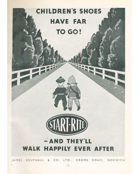 Pictured: A 1951 advert for Start-Rite shoes showing two children walking into the distance together