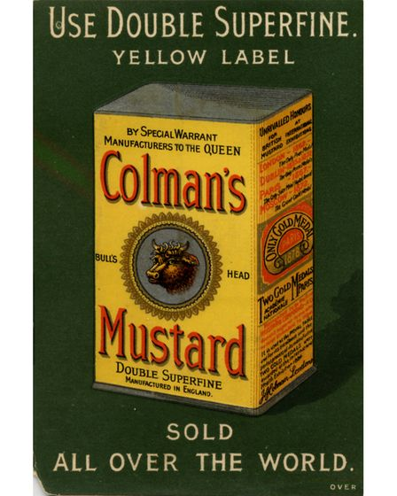 A Colman's tin showing the bright yellow and bull logo
