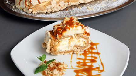 Toffee and Hazelnut Meringue Roulade dessert from The Old Moot House Castle Hedingham