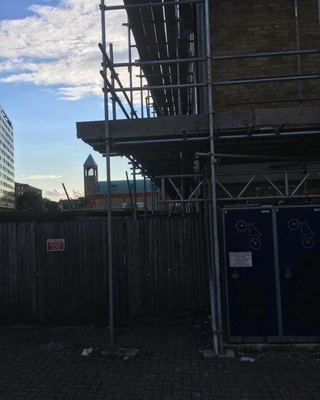 Scaffolding has been up at Prospect House since February 2021.