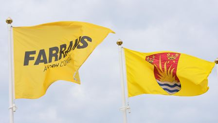 The Farrans and Suffolk flags flying above the new offices at Lowestoft.